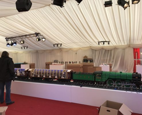 Model railway inside marquee